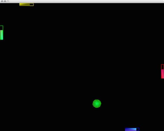A screen-shot of the evil ball in CrazyPong